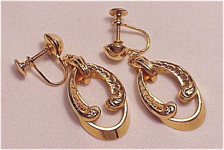 Vintage Victorian Revival Gold Tone Screwback Earrings