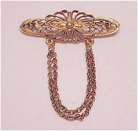 Vintage Antiqued Gold Tone Filigree Brooch With Dangling Chains