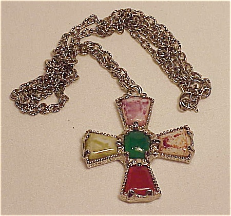 VINTAGE COSTUME JEWELRY - SILVER TONE NECKLACE WITH GLASS AGATE STONES PENDANT (Image1)