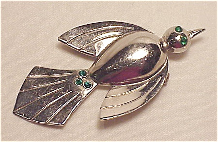 VINTAGE COSTUME JEWELRY - SILVER TONE & GREEN RHINESTONE BIRD BROOCH (Image1)