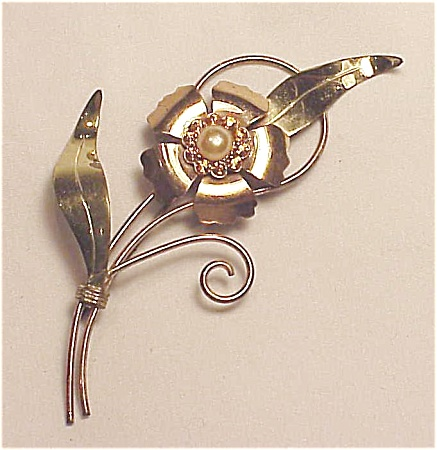 Vintage Sterling Silver Vermeil Rhinestone And Pearl Flower Brooch