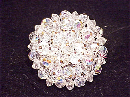 VINTAGE COSTUME JEWELRY - AURORA BOREALIS CRYSTAL BROOCH - POSSIBLE UNSIGNED WEISS (Image1)