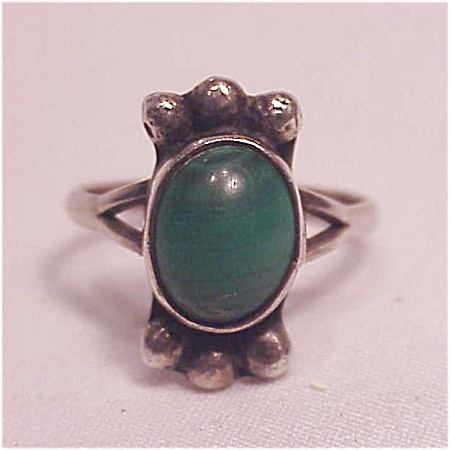 VINTAGE MEXICAN STERLING SILVER MALACHITE RING (Image1)
