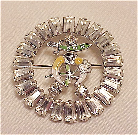 Vintage Shriners Daughters Of The Nile Rhinestone Brooch