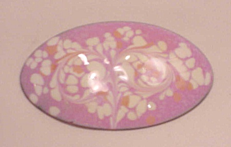 Vintage Costume Jewelry - Inga Copper Brooch With Pink And White Enamel Swirls