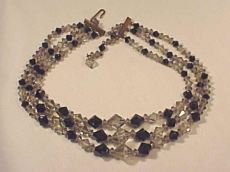 Vintage Costume Jewelry - 3 Strand Black Faceted Glass & Smoke Crystal Necklace
