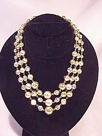Vintage Costume Jewelry - Japan 3 Strand Gold Bead & Crystal Necklace