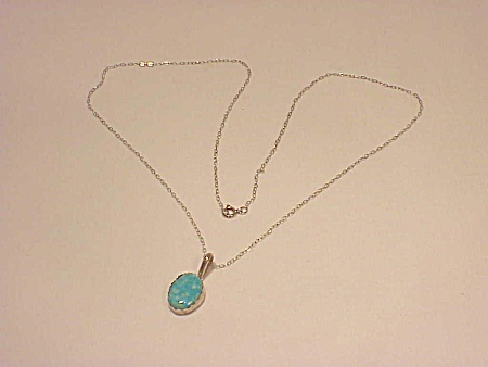 Native American Otero Sterling Silver Turquoise Pendant Necklace