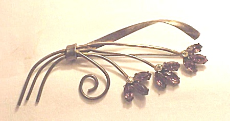 VINTAGE STERLING SILVER & AMETHYST RHINESTONE FLOWER BROOCH (Image1)