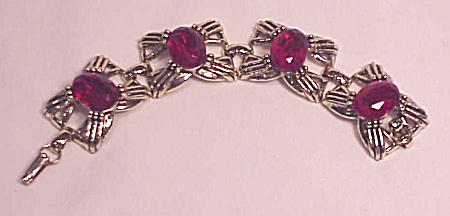 VINTAGE COSTUME JEWELRY - WIDE CHUNKY BRACELET WITH RED RHINESTONES (Image1)