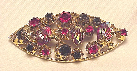 Vintage Costume Jewelry - Carved Aurora Boreails Rhinestone Brooch Signed Austria