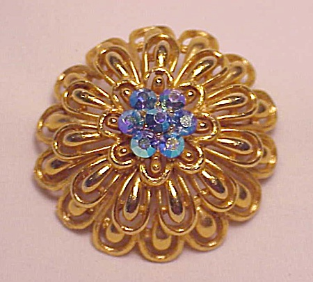 Vintage Costume Jewelry - Lisner Gold Tone Dome Brooch With Blue Aurora Borealis Rhinestones