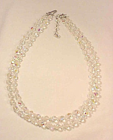 VINTAGE COSTUME JEWELRY - DOUBLE STRAND AURORA BOREALIS CRYSTAL NECKLACE (Image1)