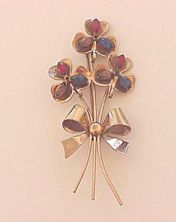 Vintage Costume Jewelry - Coro Sterling Silver Vermeil & Rhinestone Flowers With Bow Brooch