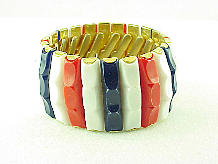 Vintage Costume Jewelry - Hong Kong Wide Red, White & Blue Lucite Stretch Bracelet