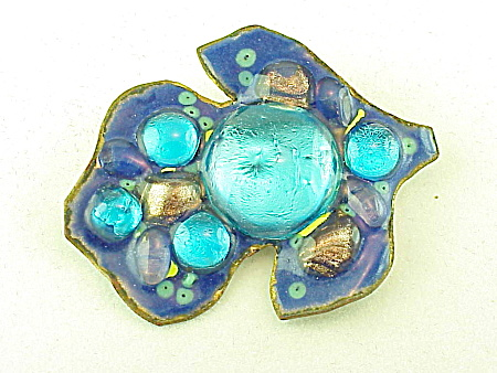 Costume Jewelry - Hand Made Enamel And Glass Abstract Design Brooch