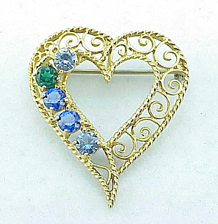 VINTAGE COSTUME JEWELRY - FILIGREE HEART BROOCH OR PENDANT WITH RHINESTONES (Image1)