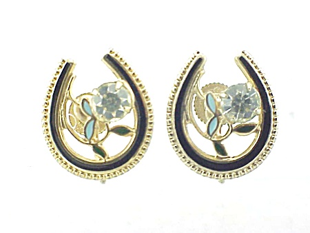 Vintage Enamel And Rhinestone Lucky Horseshoe Screwback Earrings