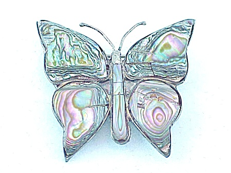 VINTAGE ACL TAXCO MEXICO STERLING SILVER & ABALONE BUTTERFLY BROOCH (Image1)