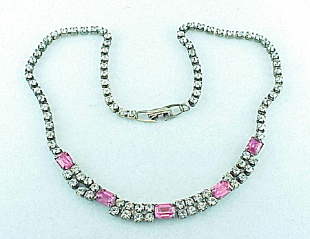 Vintage Pink And Clear Rhinestone Choker Necklace