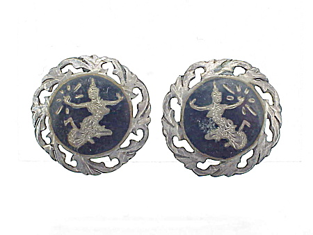 VINTAGE SIAM STERLING SILVER NIELLO SCREWBACK EARRINGS (Image1)