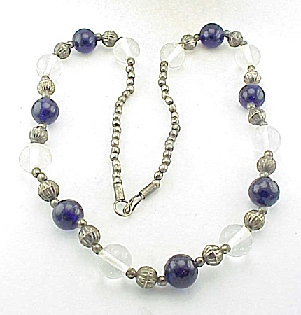 VINTAGE COSTUME JEWELRY - STERLING SILVER, COBALT BLUE & CLEAR GLASS BEAD NECKLACE (Image1)
