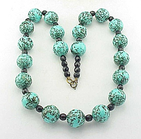 Vintage Turquoise Lucite Bead And Black Glass Bead Necklace