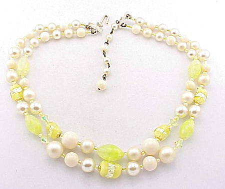 Vintage Japan Yellow Foil Art Glass Bead 2 Strand Necklace