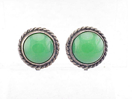 VINTAGE STERLING SILVER & GREEN GLASS SCREWBACK EARRINGS SIGNED SILVER MEXICO (Image1)
