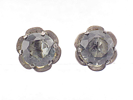 VINTAGE COSTUME JEWELRY - STERLING SILVER & SMOKE RHINESTONE SCREWBACK EARRINGS SIGNED SILVER MEXICO (Image1)