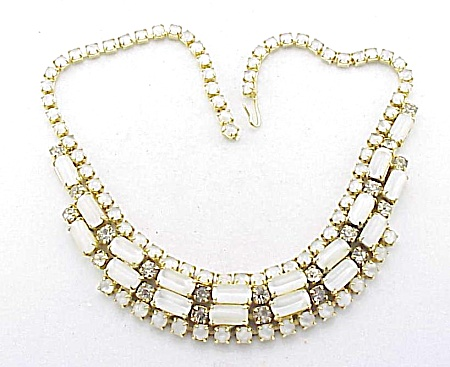 Vintage White Glass Moonstone And Rhinestone Choker Necklace