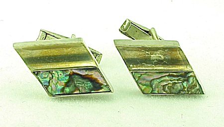 MEN'S COSTUME JEWELRY - VINTAGE TAXCO MEXICAN STERLING SILVER & ABALONE CUFFLINKS SIGNED TLR (Image1)