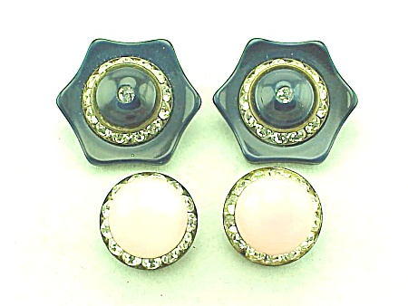 VINTAGE COSTUME JEWELRY - 2 PAIRS OF LUCITE AND RHINESTONE CLIP EARRINGS (Image1)