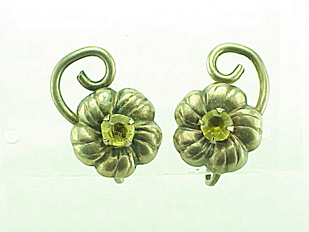 VINTAGE COSTUME JEWELRY - STERLING SILVER & YELLOW RHINESTONE SCREWBACK EARRINGS (Image1)