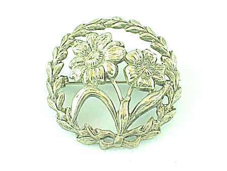 VINTAGE COSTUME JEWELRY - ART NOUVEAU STERLING SILVER FLOWER C CLASP BROOCH (Image1)
