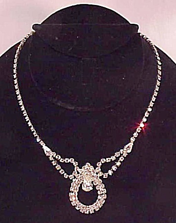 Vintage Brilliant Clear Rhinestone Necklace With Large Center Drop