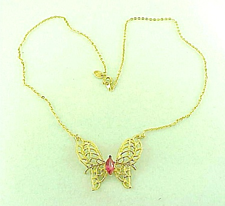 Costume Jewelry - 14k Ge Pink Rhinestone & Filigree Butterfly Necklace