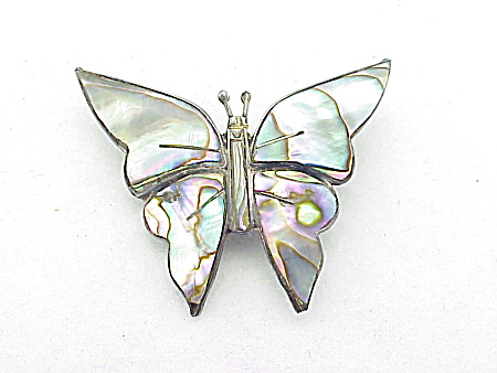 VINTAGE COSTUME JEWELRY - MEXICAN STERLING SILVER & ABALONE BUTTERFLY BROOCH SIGNED EAGLE 12 (Image1)