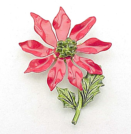 Vintage Large Tin And Enamel Christmas Poinsettia Flower Brooch