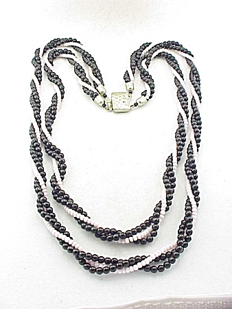 Vintage Costume Jewelry - Twisted 2 Strand Black & White Glass Bead Necklace