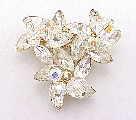 Vintage Clear Navette Rhinestone And Dangling Crystal Brooch