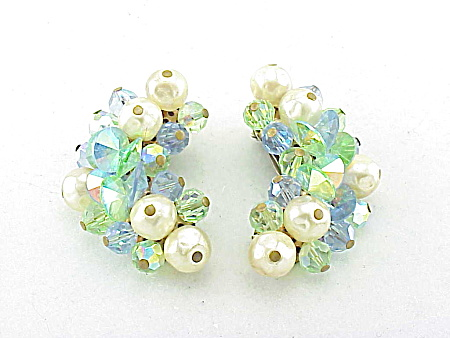 VINTAGE COSTUME JEWELRY - LAGUNA BAROQUE PEARL & BLUE AURORA BOREALIS CRYSTAL EARRINGS (Image1)