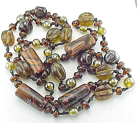 Vintage Long Lustre Glass Bead Necklace With Murano Millefiori Beads