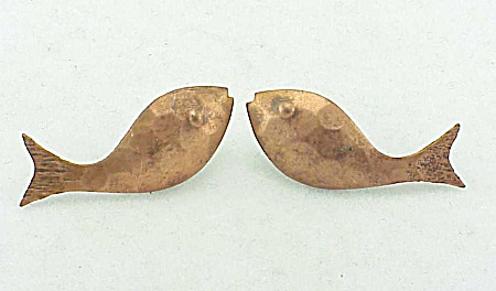 Hand Hammered Copper Fish Pierced Earrings With 14k Gold Backs