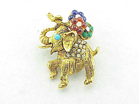 VINTAGE COSTUME JEWELRY - LUCKY ELEPHANT BROOCH WITH RHINESTONES & FLOWERS (Image1)