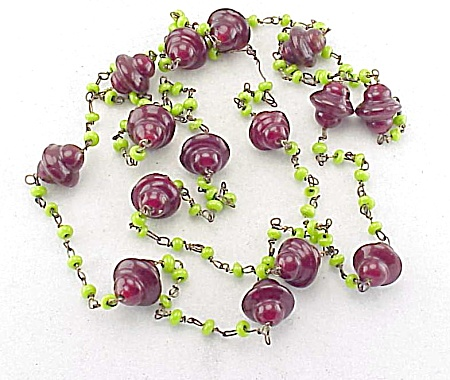 Vintage Venetian Dark Red And Green Art Glass Bead Necklace