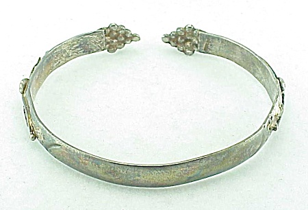 Art Nouveau Sterling Silver Cuff Bracelet With Flowers And Grapes