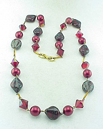 Vintage Red Art Glass Bead, Crystal And Pearl Necklace