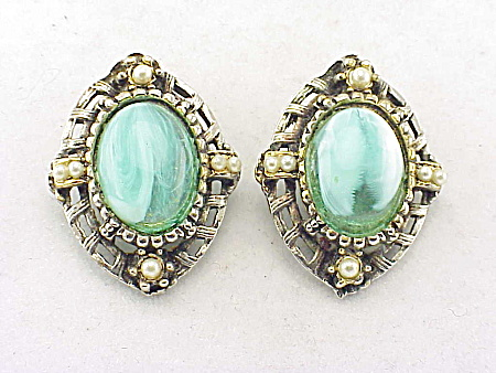 Vintage Aqua Blue Marbled Glass And Seed Pearl Clip Earrings