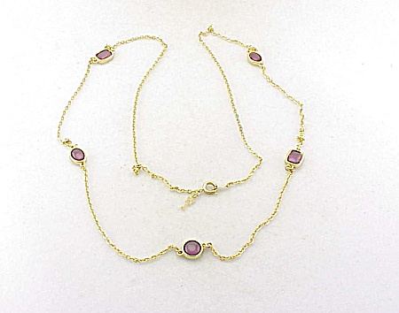 Vintage Trifari Gold Tone And Amethyst Glass Necklace